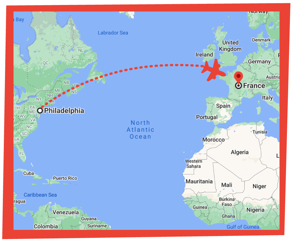 Map: Philly to France