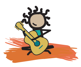 illustrated kiddo playing guitar
